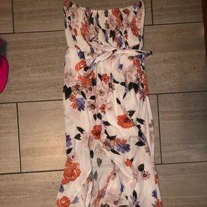 Strapless Floral Hi-Lo Dress